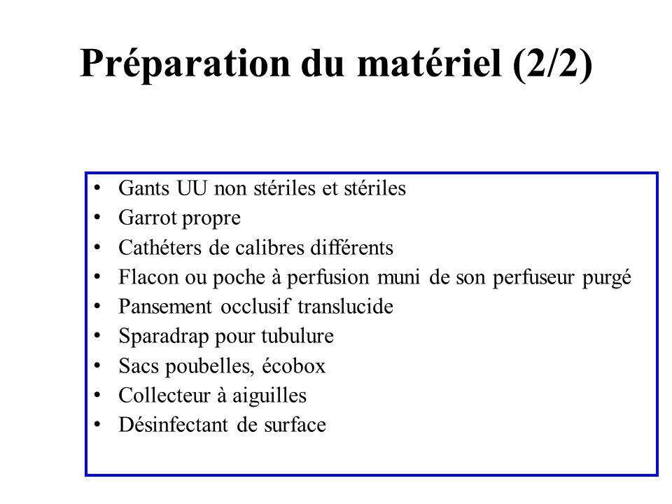 Gants UU non stériles et stériles Garrot propre Cathéters de calibres différents Flacon ou poche à perfusion muni de son perfuseur purgé Pansement occ