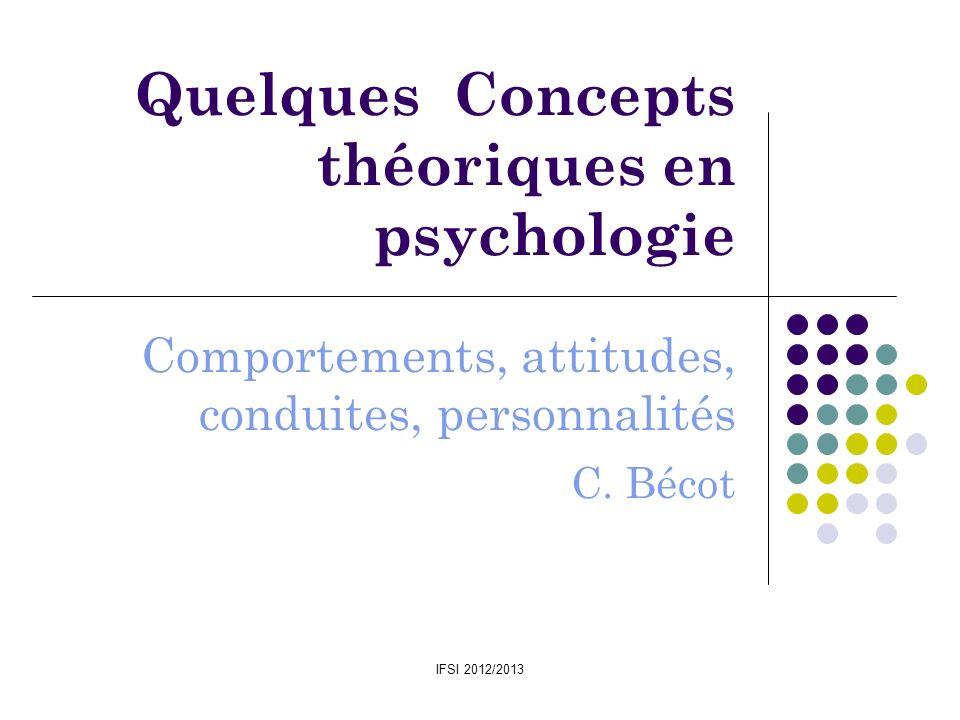 IFSI 2012/2013 Quelques Concepts théoriques en psychologie Comportements, attitudes, conduites, personnalités C. Bécot