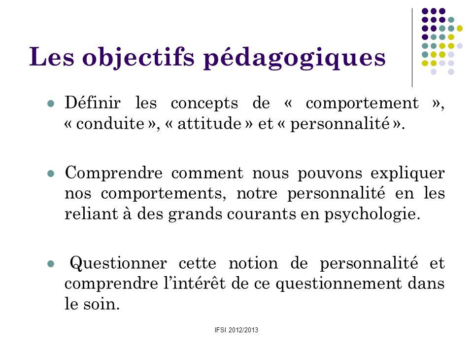 IFSI 2012/2013 Les objectifs pédagogiques Définir les concepts de « comportement », « conduite », « attitude » et « personnalité ». Comprendre comment