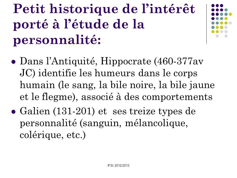 IFSI 2012/2013 Petit historique de lintérêt porté à létude de la personnalité: Dans lAntiquité, Hippocrate (460-377av JC) identifie les humeurs dans l