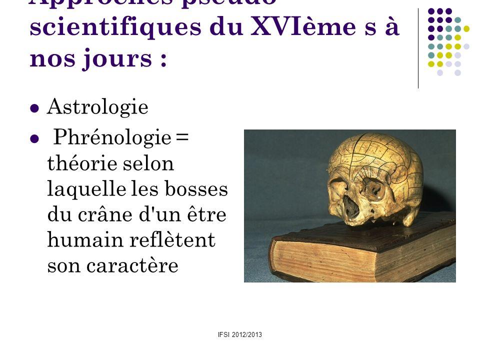 IFSI 2012/2013 Approches pseudo- scientifiques du XVIème s à nos jours : Astrologie Phrénologie = théorie selon laquelle les bosses du crâne d'un être