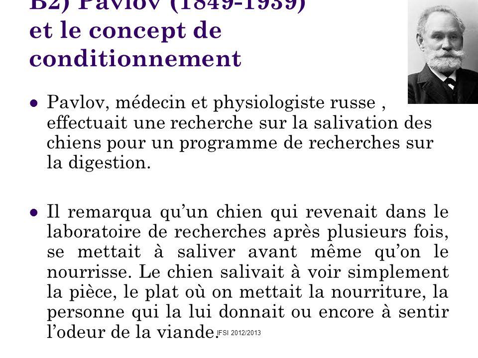 IFSI 2012/2013 B2) Pavlov (1849-1939) et le concept de conditionnement Pavlov, médecin et physiologiste russe, effectuait une recherche sur la salivat