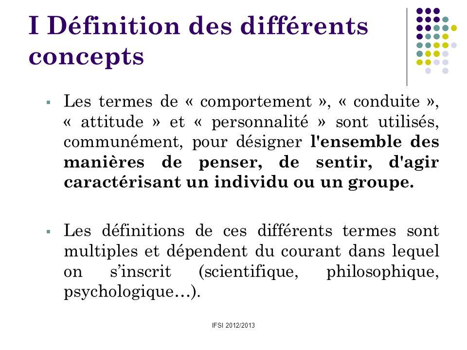 IFSI 2012/2013 I Définition des différents concepts Les termes de « comportement », « conduite », « attitude » et « personnalité » sont utilisés, comm