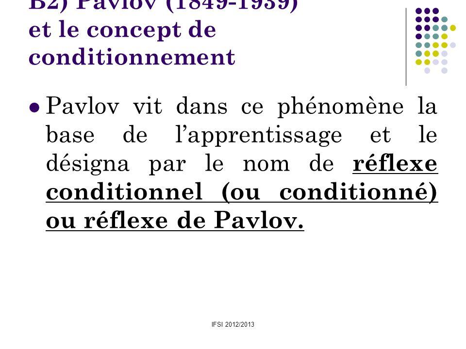 IFSI 2012/2013 B2) Pavlov (1849-1939) et le concept de conditionnement Pavlov vit dans ce phénomène la base de lapprentissage et le désigna par le nom