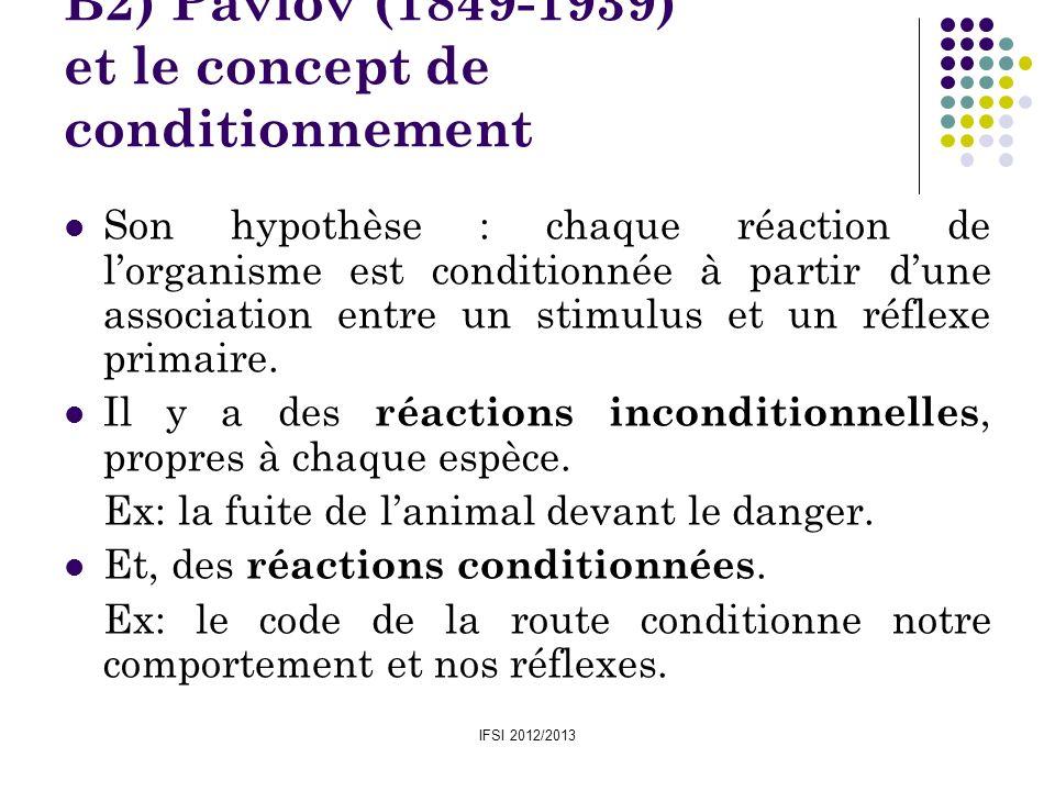 IFSI 2012/2013 B2) Pavlov (1849-1939) et le concept de conditionnement Son hypothèse : chaque réaction de lorganisme est conditionnée à partir dune as