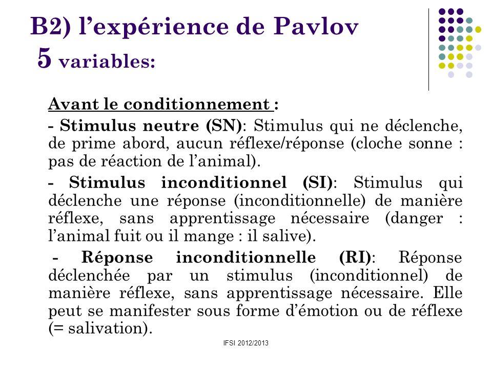 IFSI 2012/2013 B2) lexpérience de Pavlov 5 variables: Avant le conditionnement : - Stimulus neutre (SN) : Stimulus qui ne déclenche, de prime abord, a