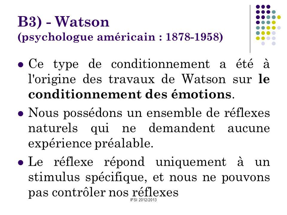 IFSI 2012/2013 B3) - Watson (psychologue américain : 1878-1958) Ce type de conditionnement a été à l'origine des travaux de Watson sur le conditionnem