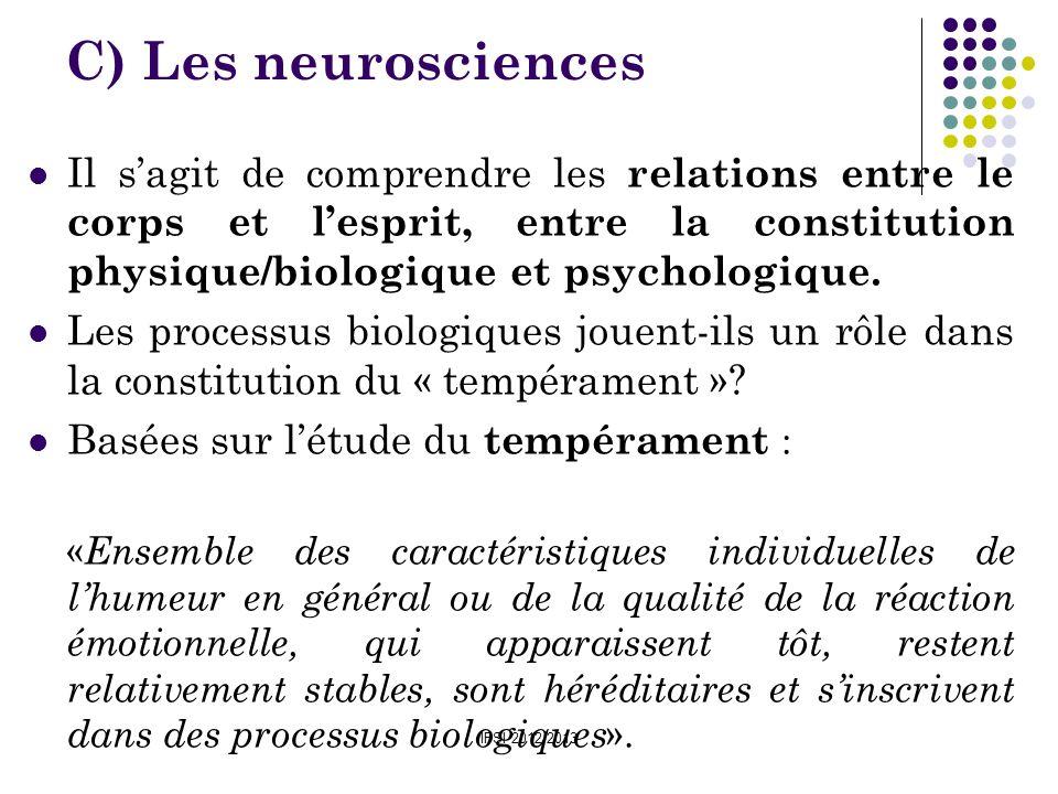 IFSI 2012/2013 C) Les neurosciences Il sagit de comprendre les relations entre le corps et lesprit, entre la constitution physique/biologique et psych