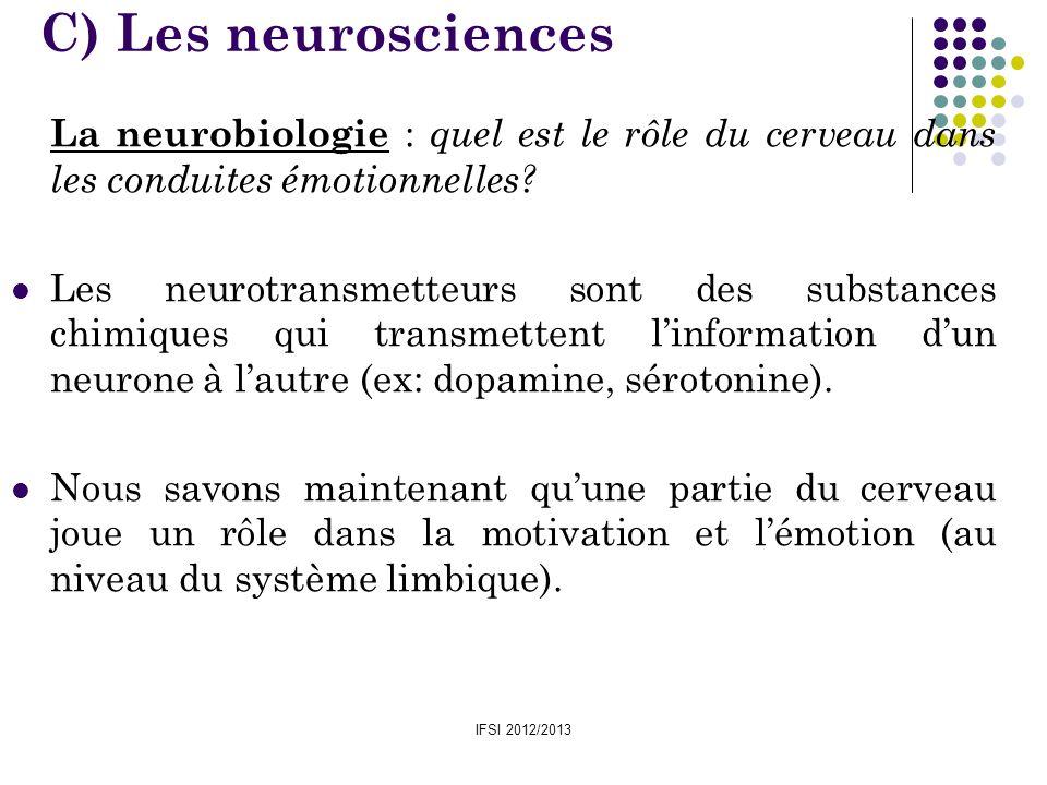 IFSI 2012/2013 La neurobiologie : quel est le rôle du cerveau dans les conduites émotionnelles? Les neurotransmetteurs sont des substances chimiques q
