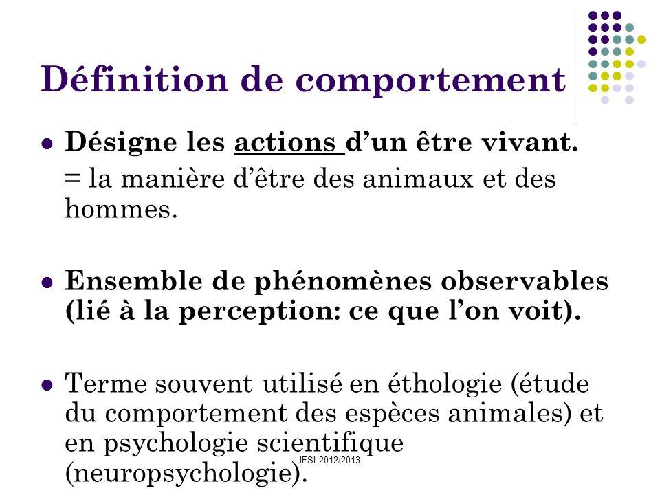 IFSI 2012/2013 Définition de comportement Désigne les actions dun être vivant. = la manière dêtre des animaux et des hommes. Ensemble de phénomènes ob