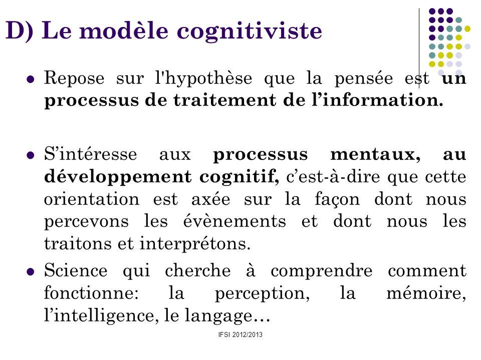 IFSI 2012/2013 D) Le modèle cognitiviste Repose sur l'hypothèse que la pensée est un processus de traitement de linformation. Sintéresse aux processus