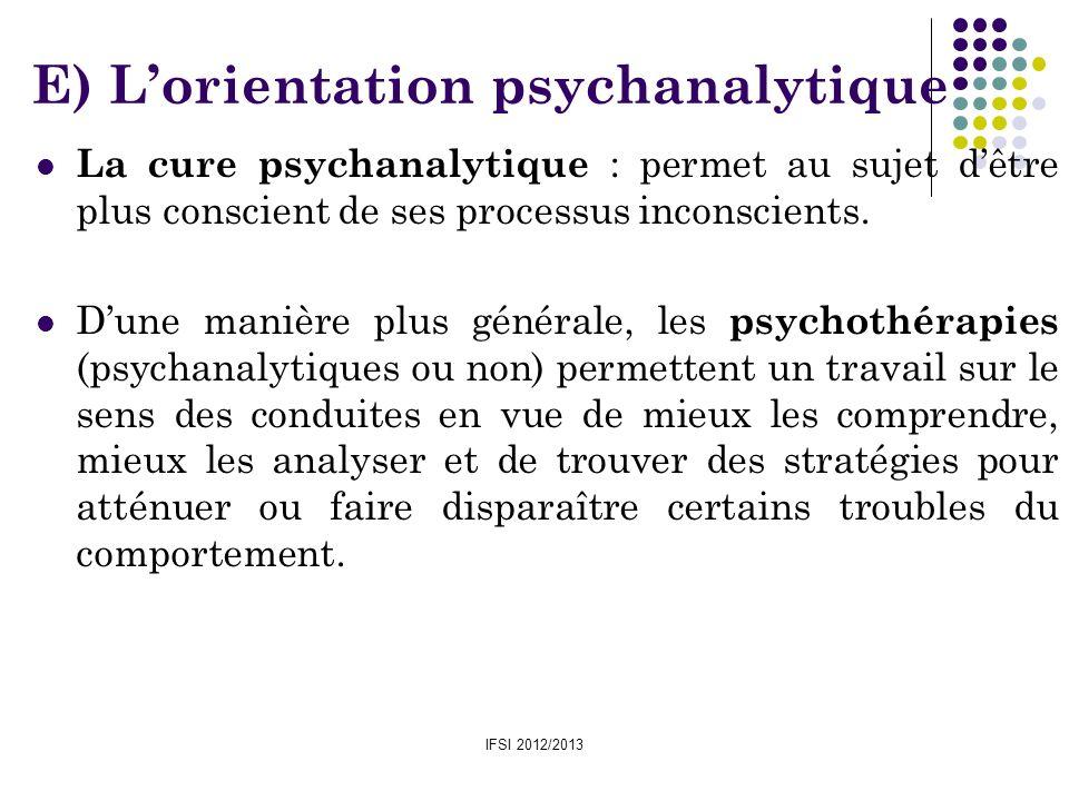 IFSI 2012/2013 La cure psychanalytique : permet au sujet dêtre plus conscient de ses processus inconscients. Dune manière plus générale, les psychothé