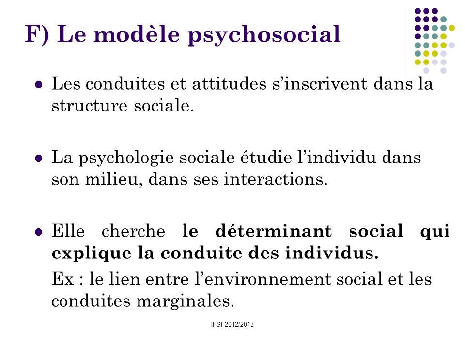 IFSI 2012/2013 F) Le modèle psychosocial Les conduites et attitudes sinscrivent dans la structure sociale. La psychologie sociale étudie lindividu dan