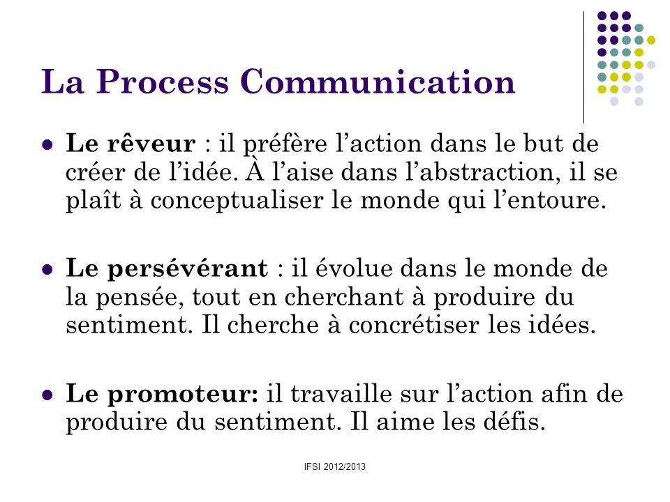 IFSI 2012/2013 La Process Communication Le rêveur : il préfère laction dans le but de créer de lidée. À laise dans labstraction, il se plaît à concept