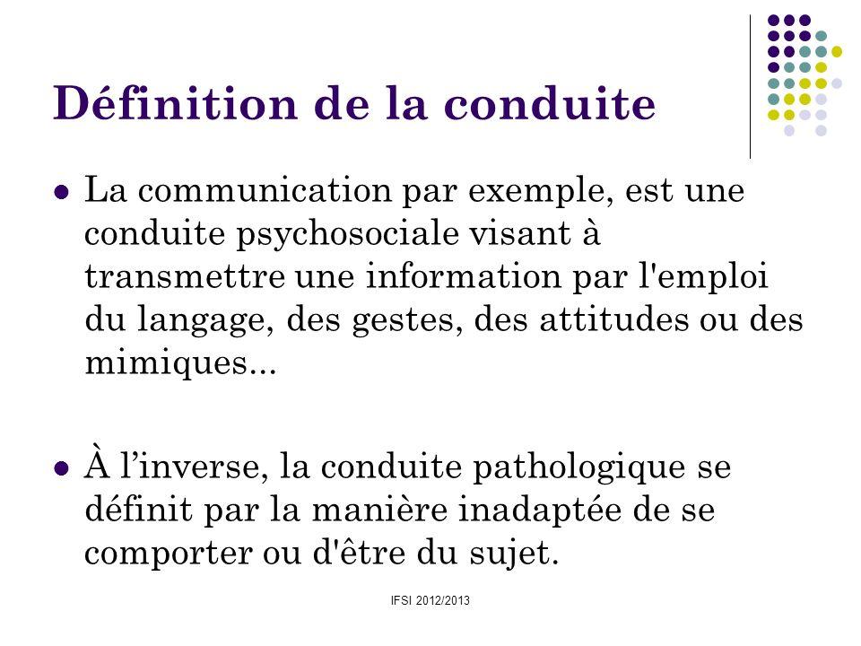 IFSI 2012/2013 Définition de la conduite La communication par exemple, est une conduite psychosociale visant à transmettre une information par l'emplo
