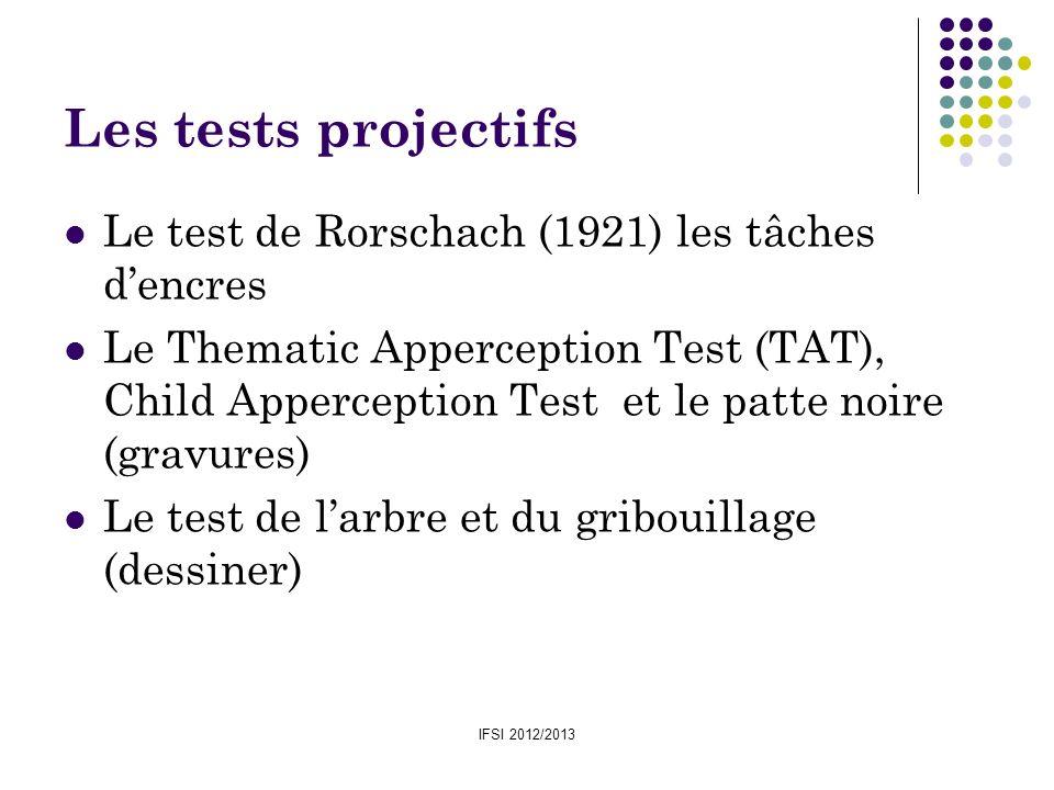 IFSI 2012/2013 Les tests projectifs Le test de Rorschach (1921) les tâches dencres Le Thematic Apperception Test (TAT), Child Apperception Test et le
