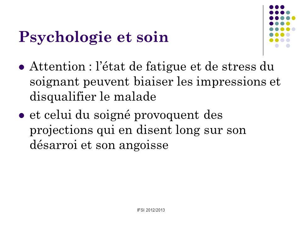 IFSI 2012/2013 Psychologie et soin Attention : létat de fatigue et de stress du soignant peuvent biaiser les impressions et disqualifier le malade et