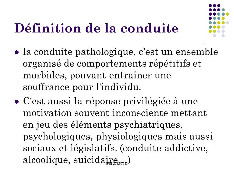 IFSI 2012/2013 Définition de la conduite Concept employé quand on veut définir le comportement dun individu : La conduite désigne un ensemble dactivités externes observables de lorganisme et de phénomènes internes inobservables qui sont supposés en être concomitants : les sentiments, les émotions, motivations, but…