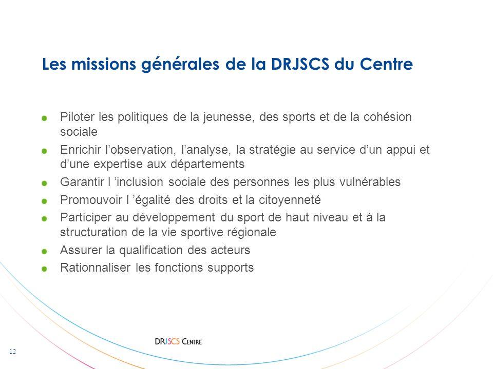12 Les missions générales de la DRJSCS du Centre Piloter les politiques de la jeunesse, des sports et de la cohésion sociale Enrichir lobservation, la
