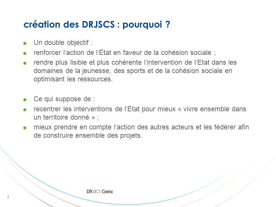 5 création des DRJSCS : pourquoi ? Un double objectif : renforcer laction de lÉtat en faveur de la cohésion sociale ; rendre plus lisible et plus cohé