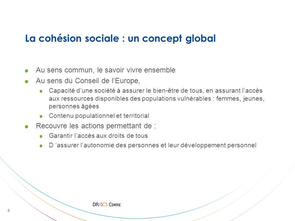 6 La cohésion sociale : un concept global Au sens commun, le savoir vivre ensemble Au sens du Conseil de lEurope, Capacité dune société à assurer le b