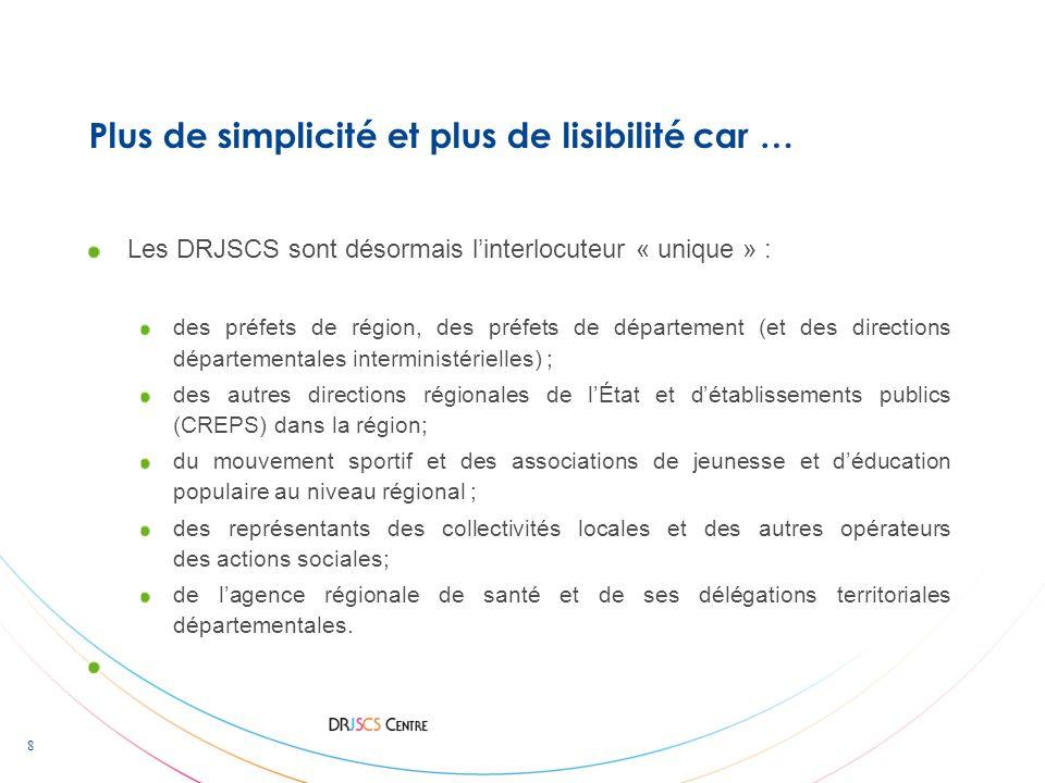 8 Plus de simplicité et plus de lisibilité car … Les DRJSCS sont désormais linterlocuteur « unique » : des préfets de région, des préfets de départeme
