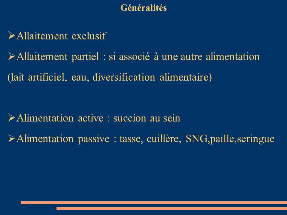 Généralités Allaitement exclusif Allaitement partiel : si associé à une autre alimentation (lait artificiel, eau, diversification alimentaire) Aliment