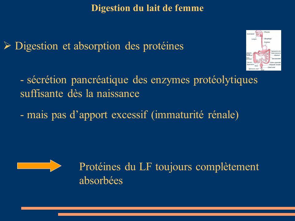 Digestion du lait de femme Digestion et absorption des protéines - sécrétion pancréatique des enzymes protéolytiques suffisante dès la naissance - mai