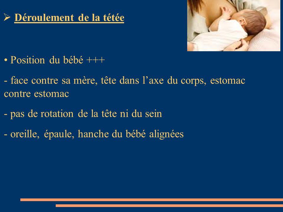 Position du bébé +++ - face contre sa mère, tête dans laxe du corps, estomac contre estomac - pas de rotation de la tête ni du sein - oreille, épaule,