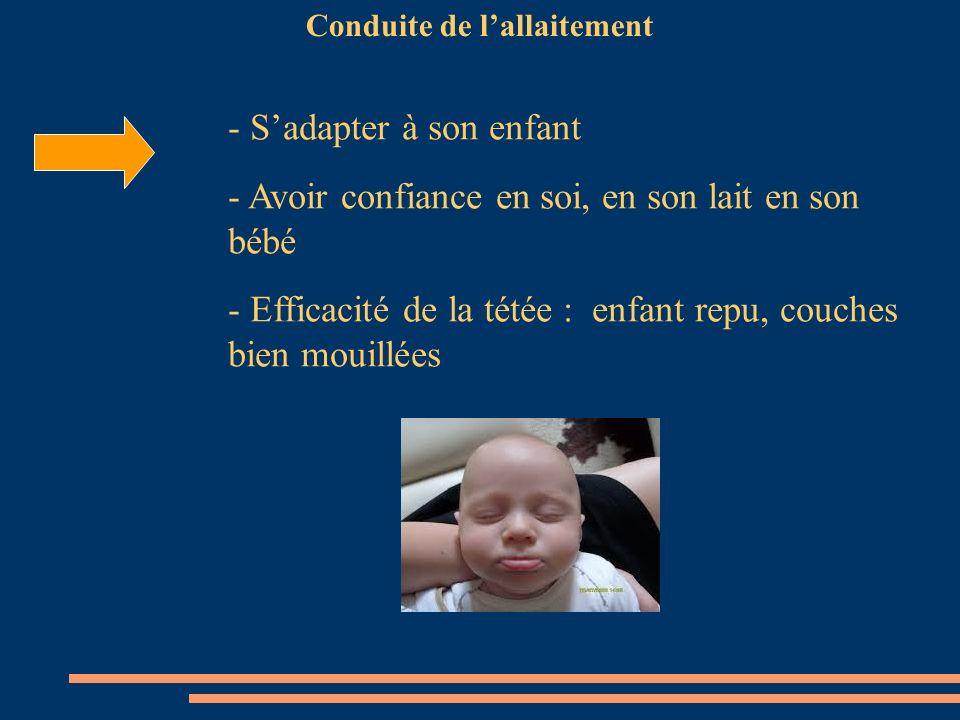Conduite de lallaitement - Sadapter à son enfant - Avoir confiance en soi, en son lait en son bébé - Efficacité de la tétée : enfant repu, couches bie