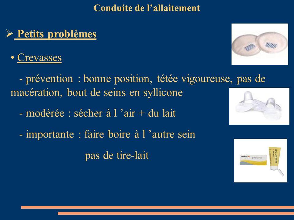 Conduite de lallaitement Crevasses - prévention : bonne position, tétée vigoureuse, pas de macération, bout de seins en syllicone - modérée : sécher à