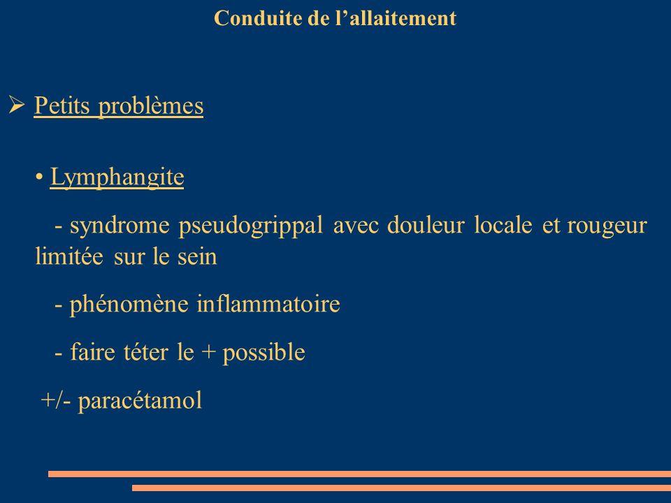 Conduite de lallaitement Lymphangite - syndrome pseudogrippal avec douleur locale et rougeur limitée sur le sein - phénomène inflammatoire - faire tét