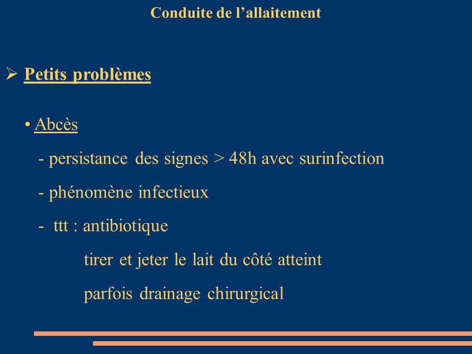 Conduite de lallaitement Abcès - persistance des signes > 48h avec surinfection - phénomène infectieux - ttt : antibiotique tirer et jeter le lait du
