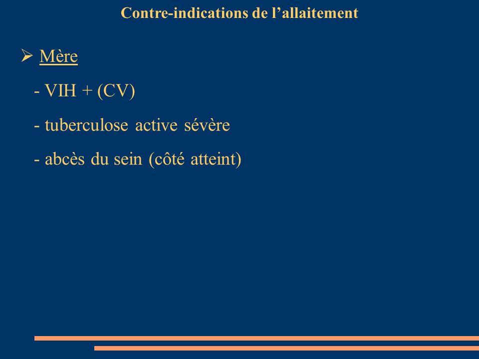Mère - VIH + (CV) - tuberculose active sévère - abcès du sein (côté atteint) Contre-indications de lallaitement