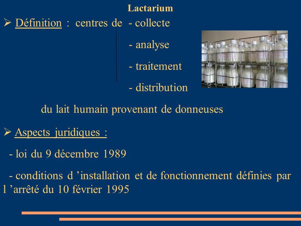 Lactarium Définition : centres de - collecte - analyse - traitement - distribution du lait humain provenant de donneuses Aspects juridiques : - loi du