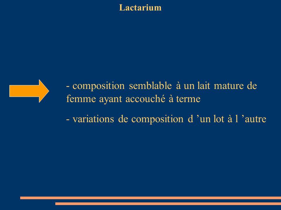 Lactarium - composition semblable à un lait mature de femme ayant accouché à terme - variations de composition d un lot à l autre