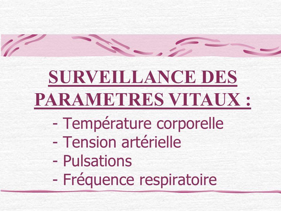 - Température corporelle - Tension artérielle - Pulsations - Fréquence respiratoire SURVEILLANCE DES PARAMETRES VITAUX :