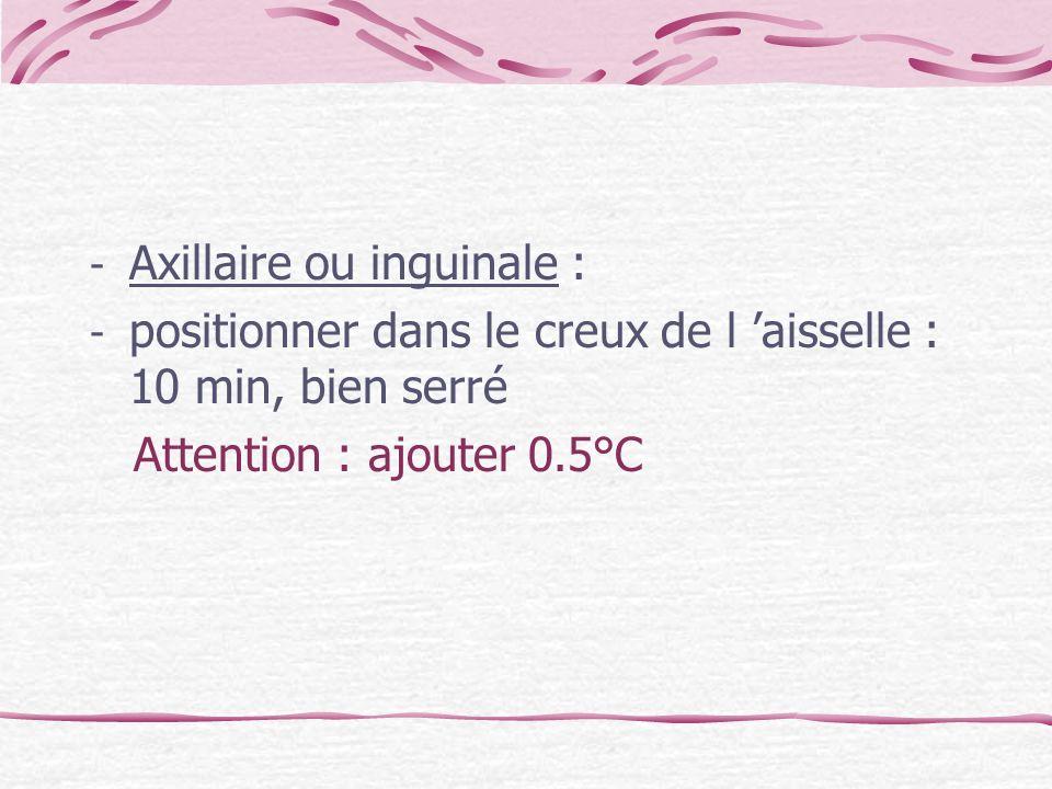 - Axillaire ou inguinale : - positionner dans le creux de l aisselle : 10 min, bien serré Attention : ajouter 0.5°C