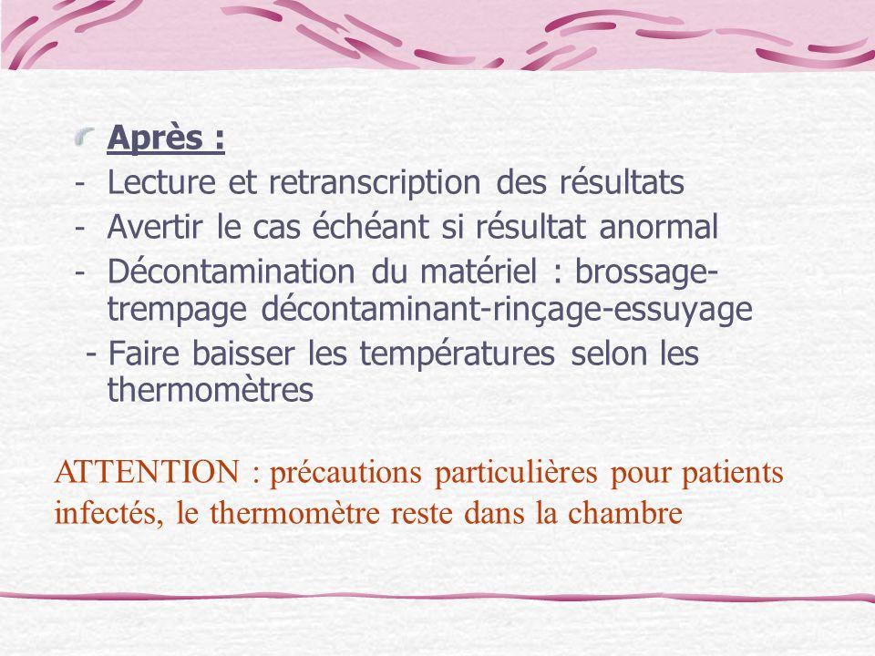 Après : - Lecture et retranscription des résultats - Avertir le cas échéant si résultat anormal - Décontamination du matériel : brossage- trempage déc