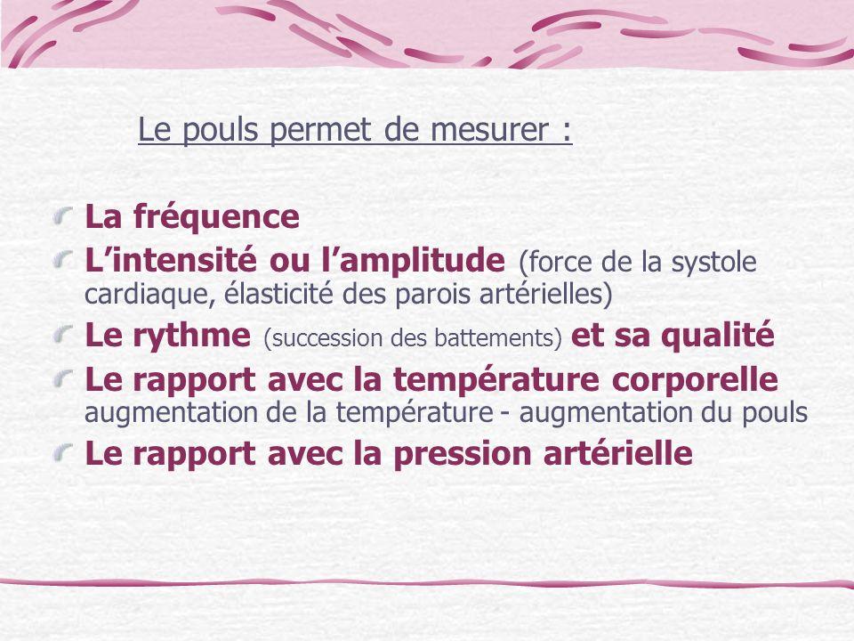 Le pouls permet de mesurer : La fréquence Lintensité ou lamplitude (force de la systole cardiaque, élasticité des parois artérielles) Le rythme (succe
