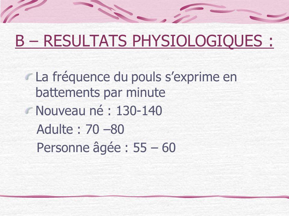 B – RESULTATS PHYSIOLOGIQUES : La fréquence du pouls sexprime en battements par minute Nouveau né : 130-140 Adulte : 70 –80 Personne âgée : 55 – 60