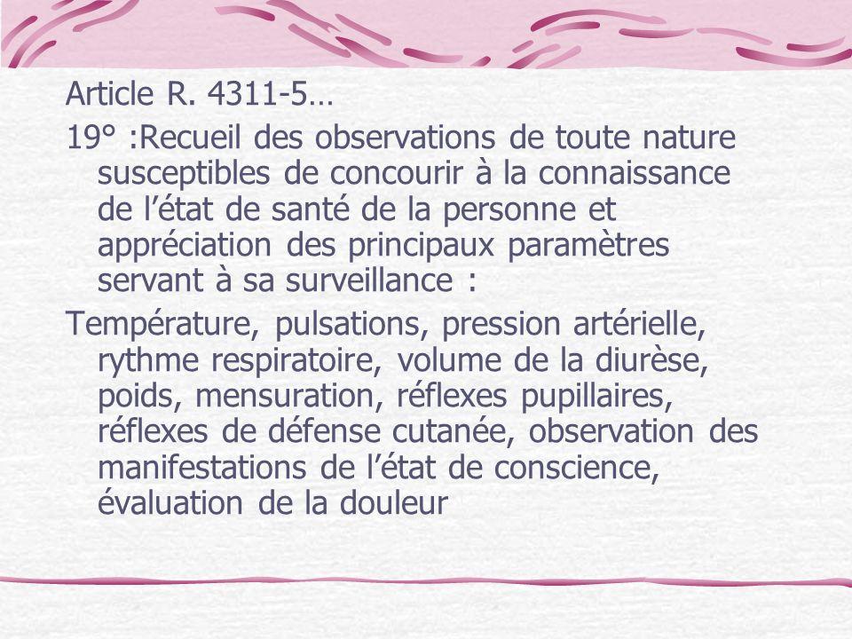 Article R. 4311-5… 19° :Recueil des observations de toute nature susceptibles de concourir à la connaissance de létat de santé de la personne et appré