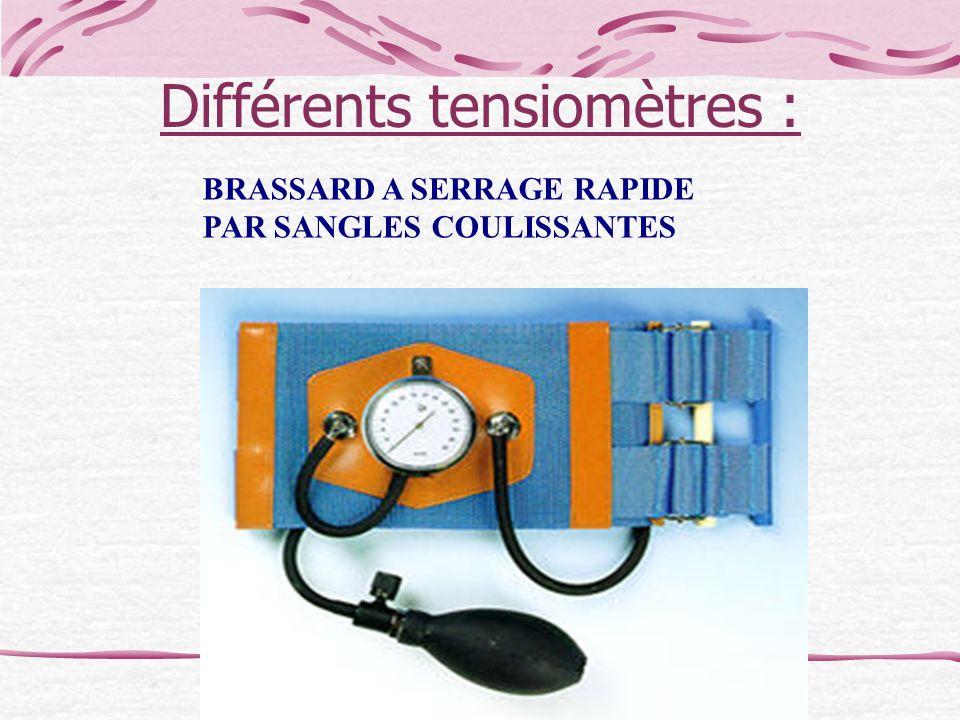 Différents tensiomètres : BRASSARD A SERRAGE RAPIDE PAR SANGLES COULISSANTES