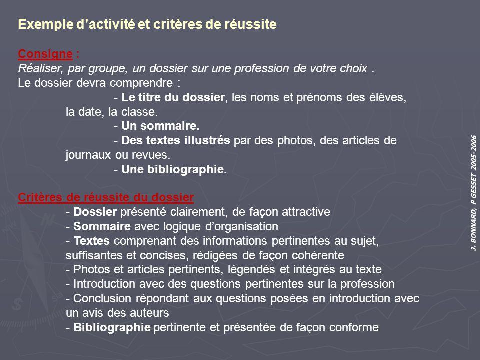 J. BONNARD, P GESSET 2005-2006 Exemple dactivité et critères de réussite Consigne : Réaliser, par groupe, un dossier sur une profession de votre choix