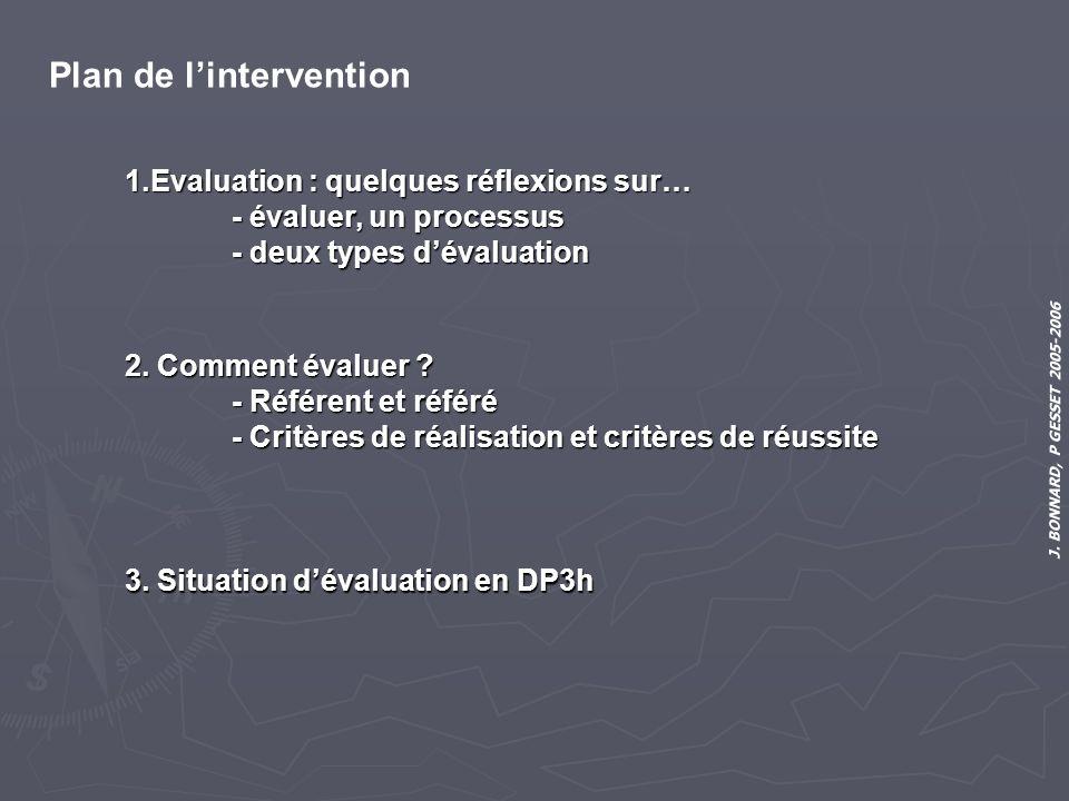 J. BONNARD, P GESSET 2005-2006 Plan de lintervention 1.Evaluation : quelques réflexions sur… - évaluer, un processus - deux types dévaluation 2. Comme