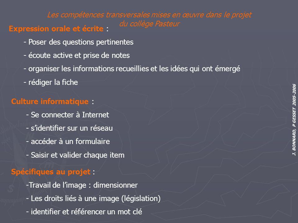 J. BONNARD, P GESSET 2005-2006 Les compétences transversales mises en œuvre dans le projet du collège Pasteur Expression orale et écrite : - Poser des