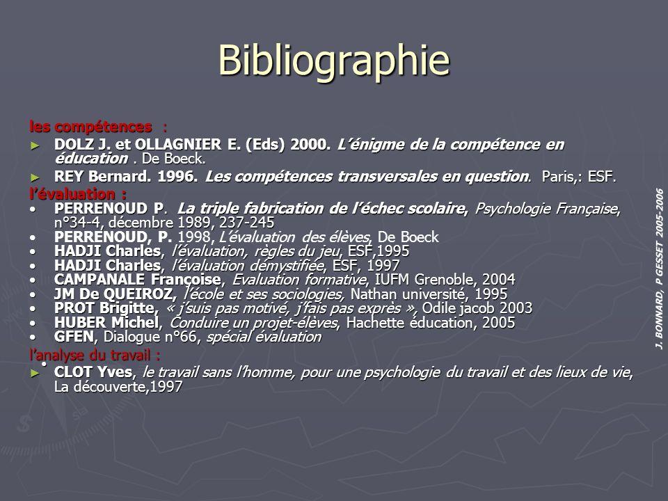 J. BONNARD, P GESSET 2005-2006 Bibliographie les compétences : DOLZ J. et OLLAGNIER E. (Eds) 2000. Lénigme de la compétence en éducation. De Boeck. DO