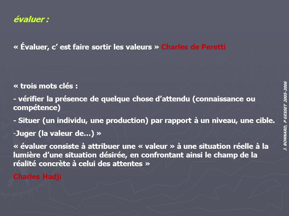 J. BONNARD, P GESSET 2005-2006 évaluer : « Évaluer, c est faire sortir les valeurs » Charles de Peretti « trois mots clés : - vérifier la présence de