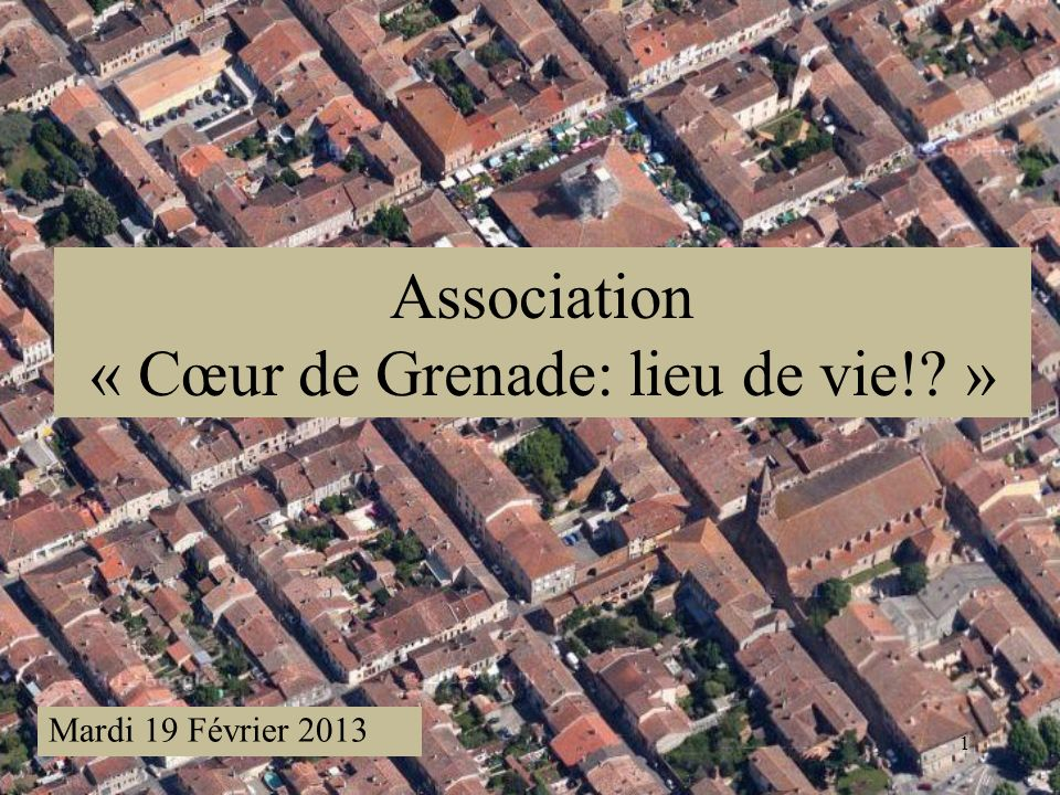 1 Association « Cœur de Grenade: lieu de vie! » Mardi 19 Février 2013