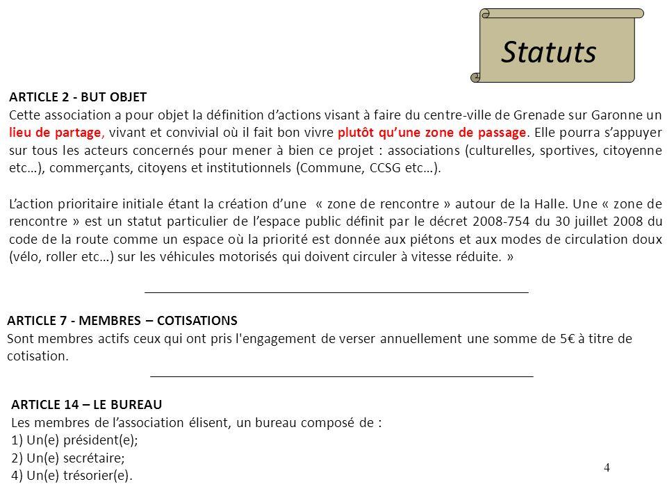 4 ARTICLE 2 - BUT OBJET Cette association a pour objet la définition dactions visant à faire du centre-ville de Grenade sur Garonne un lieu de partage